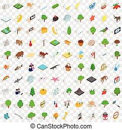 100 widlife sanctuary icons set, isometric style - 100...
