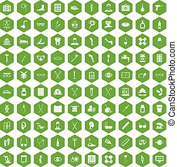 100 disabled healthcare icons hexagon green - 100 disabled...