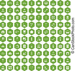 100 craft icons hexagon green - 100 craft icons set in green...