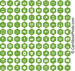 100 information technology icons hexagon green - 100...