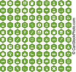 100 initiation icons hexagon green - 100 initiation icons...