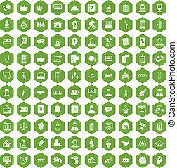 100 coherence icons hexagon green - 100 coherence icons set...