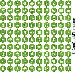 100 garden stuff icons hexagon green - 100 garden stuff...