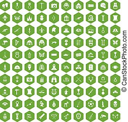 100 museum icons hexagon green