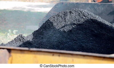 Unrolled hot asphalt - Unrolled hot black asphalt