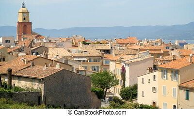 Long shot of yellow houses in St Tropez - Long shot of old...