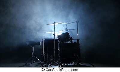 Drum professional installation in the studio. Black smoky...