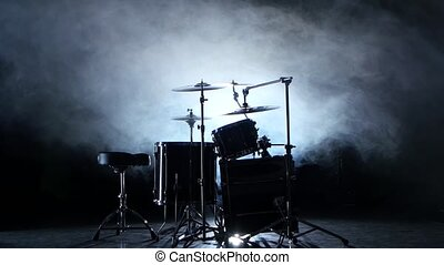 Set of drums, cymbals and other percussion instruments....