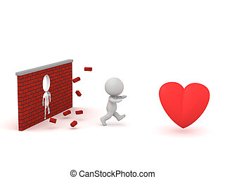 3D Character Running Through Wall to get to Heart - 3D...