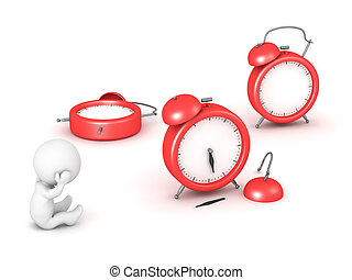 3D Character and Broken Clocks - 3D character is stressed...