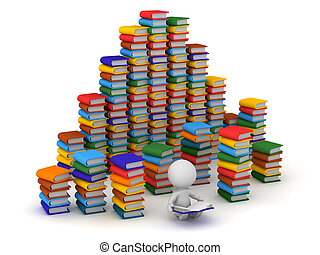 3D Character Surrounded by Many Books