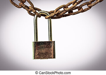 old chain - rusted big chain isolated on white background