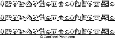simple house and tree - line drawing -