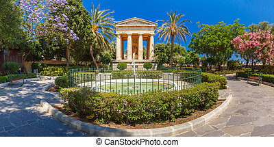 Lower Barrakka Gardens, Valletta, capital of Malta -...