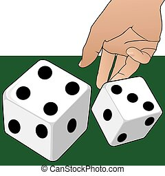 A Roll of the Dice - Hand is tossing a couple of dice onto a...