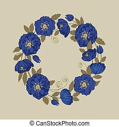 Round floral frame vector illustration