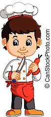 Chef Cook Holding Cleaver Knife And carrot Cartoon -...