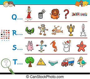 first letter of a word educational worksheet - Cartoon...