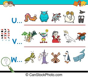 first letter of a word educational game - Cartoon...
