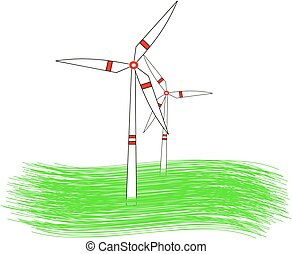 modern windmill turbines generating renewable green energy...