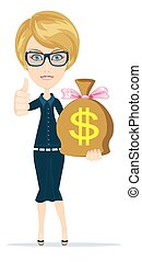 Woman with a huge bag full of money