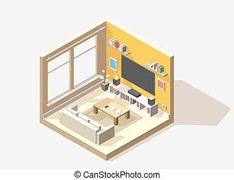 Vector isometric low poly living room cutaway icon. Room...