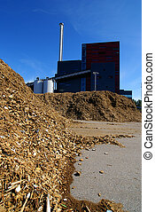 bio power plant with storage of wooden fuel...
