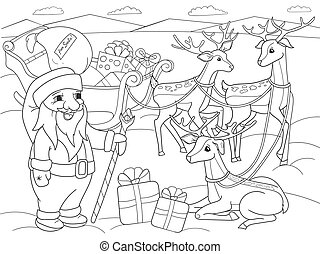 Childrens coloring cartoon animal friends in nature. Santa...