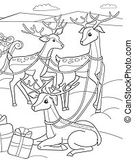 Childrens coloring cartoon animal friends in nature. Santa claus on the north pole next to sleighs and magical deer