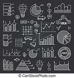 Charts, data graphs and other infographics elements isolate on black chalkboard. Vector pictures set