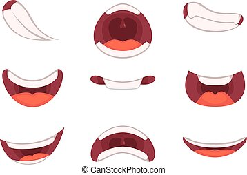 Different emotions of cartoon mouths with funny expressions