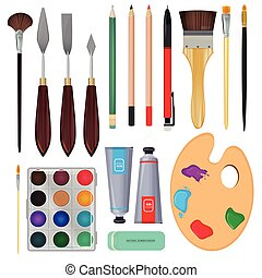 Different materials for artists. Equipment for painting. Vector illustrations