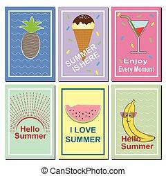 Set of bright summer cards