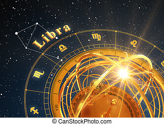 Zodiac Sign Libra And Armillary Sphere On Blue Background....