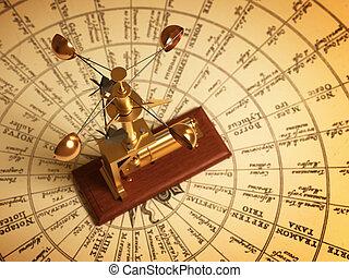 antigüedad, mapa, anemómetro, Vientos
