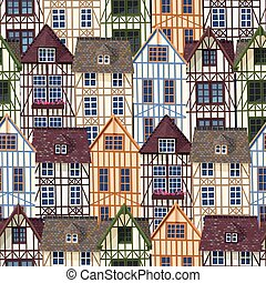 Old town seamless pattern - Vector seamless pattern with...