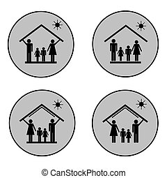 Protection of family in house, set of icons3