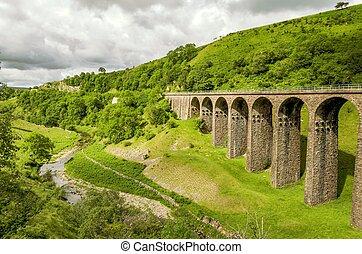smardale, oblicuo, viaducto, ferrocarril,  disused, vista