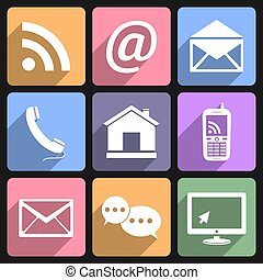 Contact & Communication Flat Icons