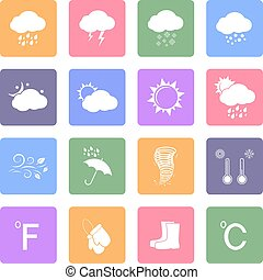 Weather flat icons set - Weather icons set, flat design...