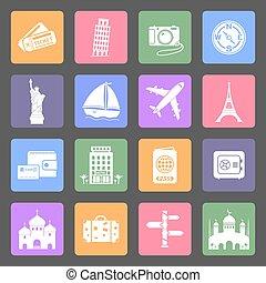 Travel & Landmarks flat icons set