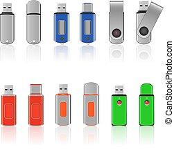 Vector USB flash drive icons
