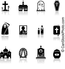 Funeral icons with reflection