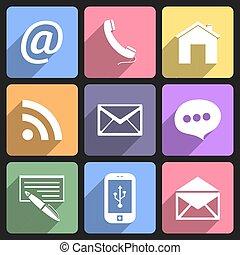 Communication flat icons set