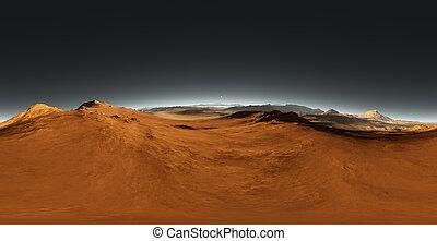 Panorama of Mars sunset, environment HDRI map....