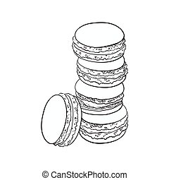 Hand drawn stack of colorful macaron, macaroon almond cakes...