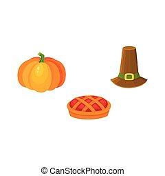 Thanksgiving set - pumpkin, fruit pie, pilgrim hat - Set of...
