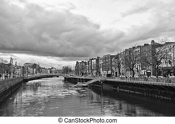 River Liffey and Dublin, Ireland - River Liffey and Dublin...