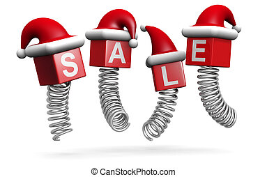 Christmas sales and promotion concept jumping with spring 3d...