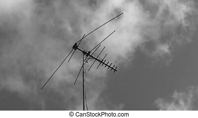 TV antenna Black and white. 2 shots - Two shots of an old...
